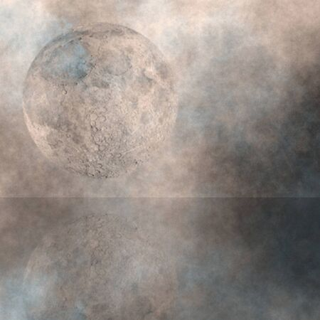 atmospheric: Moon Rise over water Stock Photo