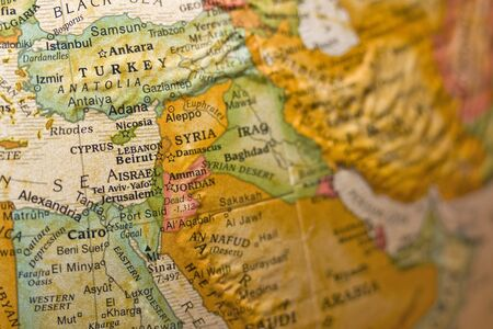 south east: Syria on antiqued globe