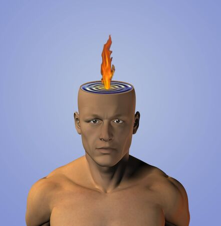 Flame burns in liquid mind photo