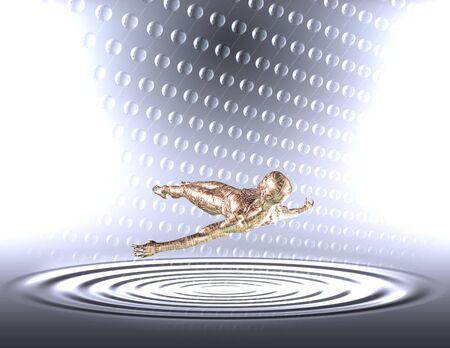 human like: Human like figure floats in light