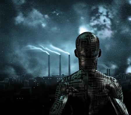 Human achtige figuur staat voor grime stad Stockfoto