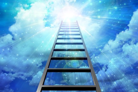 corporate ladder: Ladder leads into sky