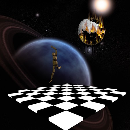Planet, chessboard, leaping figure, and melting clock