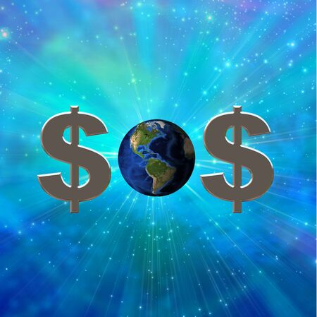 rescuing: Dollar sign and earth create SOS symbol