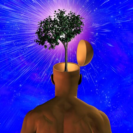 Tree revealed inside mans head Stock Photo - 4454630