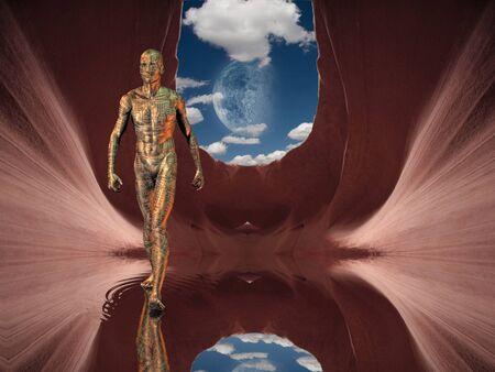 Humaniod figure walks on water photo