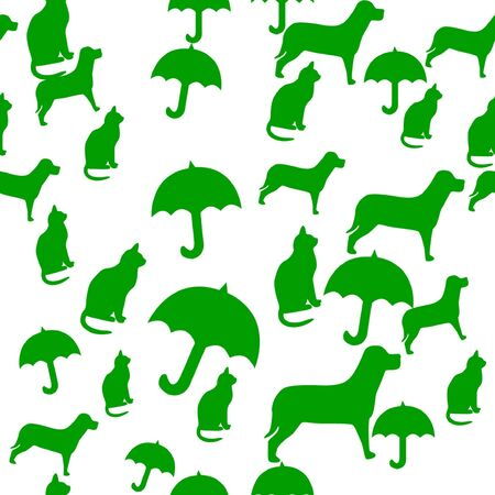 Seamlessly Repeatable Pattern of Raining Cats and Dogs photo