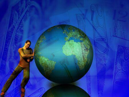 pushes: Man pushes against world