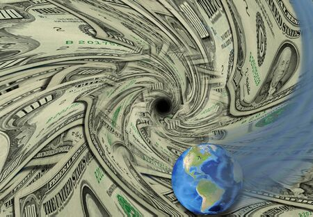 sink drain: Global Economy swirls down drain Stock Photo