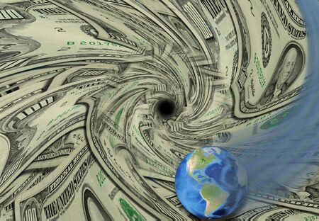 disposer: Global Economy swirls down drain Stock Photo