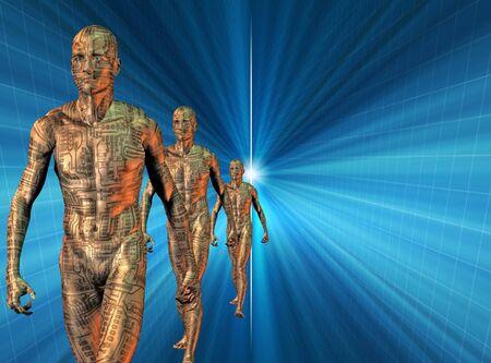emerge: Circuit Skinned men emerge from light Stock Photo