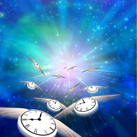 Winged Clocks count off the hours Stock Photo