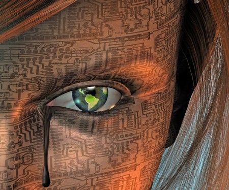 Circuit skinned woman with earth eye and tear photo