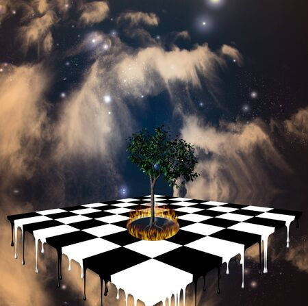Melting chessboard and tree ringed by fire Stock Photo - 4529840