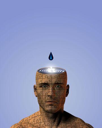 Open mind on puzzle man photo