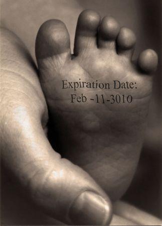 expiration: Expiration Date on infants foot