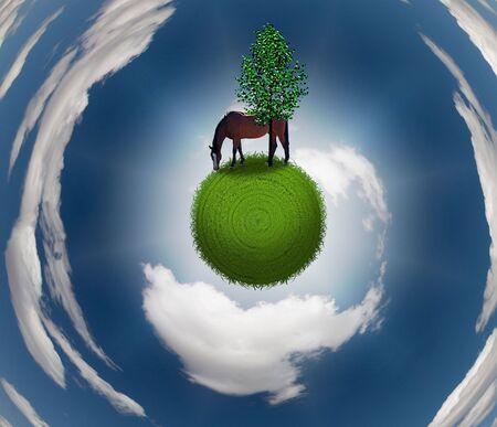 Horse on Grassy Sphere