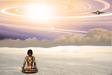 Alien ship and meditating android photo