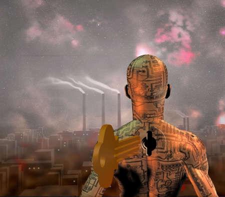 smoky: Tech Man stands before smoky city