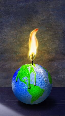 Earth burns as a melting candle Stock Photo - 4753760