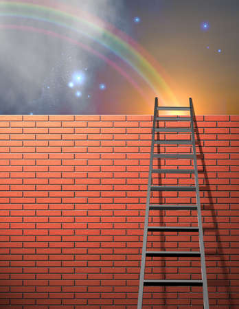 Ladder leans on wall with sky photo