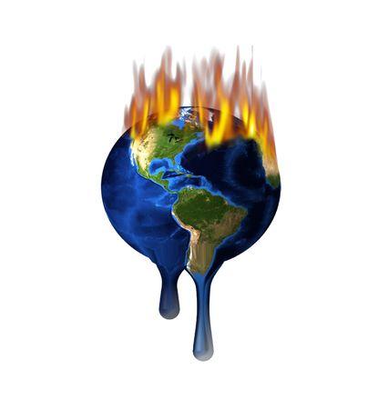 Smeltende Burning Earth Geïsoleerd op wit Stockfoto