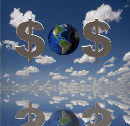 rescuing: SOS of earth and dollar symbols Stock Photo