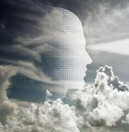 Human head of binary code photo