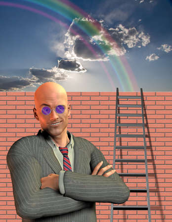Man stands before wall with ladder photo