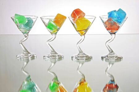 icecube: Colored Ice in Glasses Stock Photo