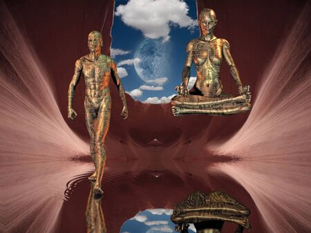 Meditation and walking on water figures photo