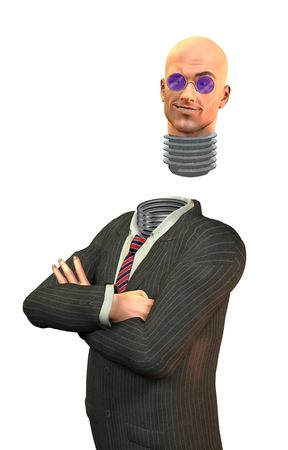 screw head: Businessman with screw in head