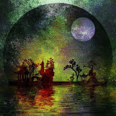 old moon: Asia Landscape Textured Painting