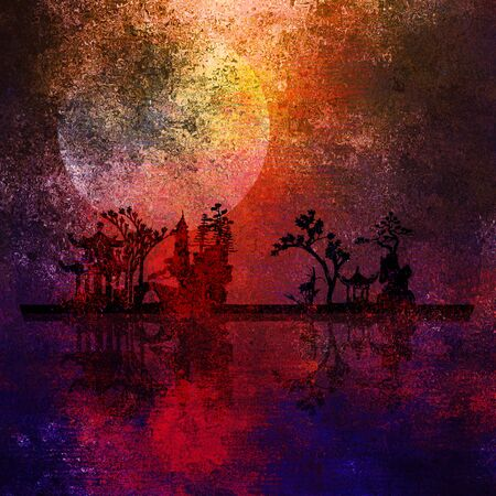 Asia Landscape Textured Painting photo