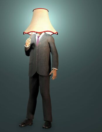 Bussinessman with lamp shade and pull switch photo