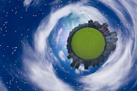 megapolis: City Sphere and clouds Stock Photo