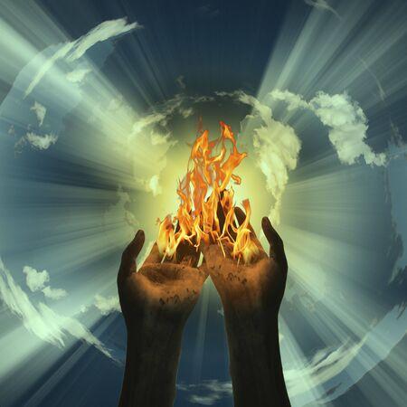 mano de dios: Misterio Fuego Resumen Foto de archivo