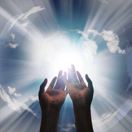 open hands: Hands reveal light