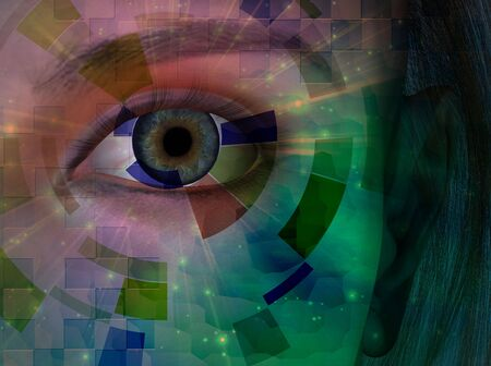 Closeup of eye with abstract Stock Photo - 5728108