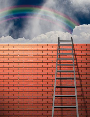 Ladder leans on wall with sky Stock Photo - 5734748