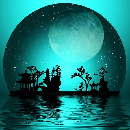 asian art: Asia Landscape with Moon Stock Photo