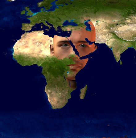 east africa: Middle East Superimposed on Mans Face