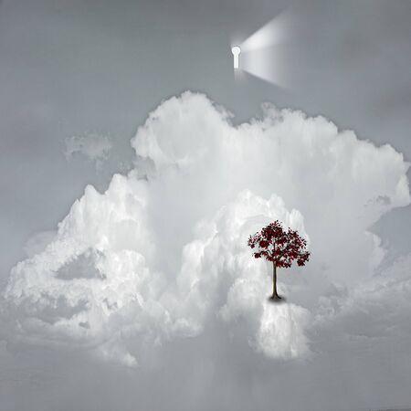 spirtual: keyhole emits light in dreamlike scene