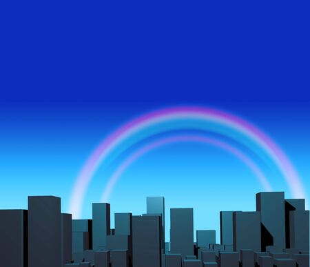City and rainbow in blue sky photo