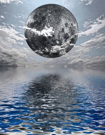 sunny cold days: moon over water Stock Photo