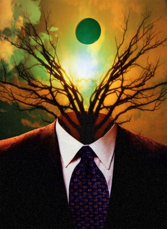 Tree emerges from business suit photo