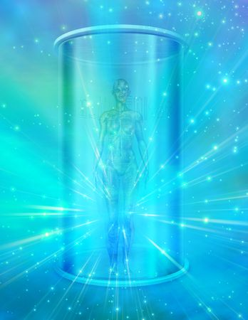 Human female figure in transparent container photo