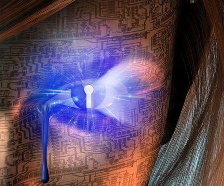 Electronic Woman with Key hole Eye photo