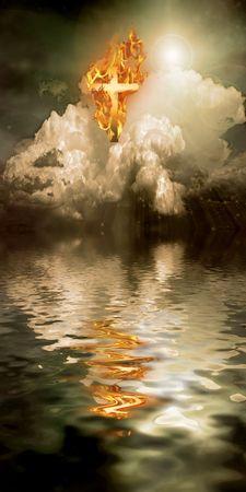 Burning Cross Hangs in Sky over Water 스톡 콘텐츠