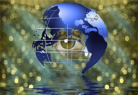 Eye peers through earth photo